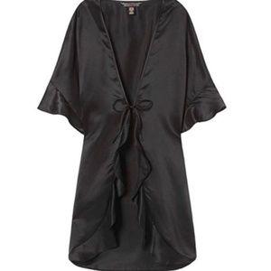 Victoria's Secret Black Satin Kimono Robe